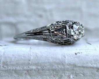 Vintage Filigree 14K White Gold Solitaire Diamond Engagement Ring - 0.51ct.