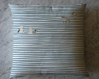 Birds and Water Stripes Throw Pillow