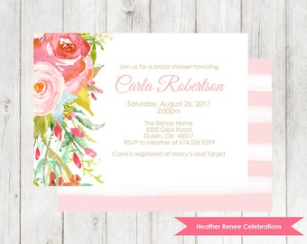 Pink Floral Bridal Shower Invitation | Flower Bridal Tea Shower Invite | Bridal Brunch Printable
