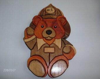 Wooden Fireman Bear Wall Decoration