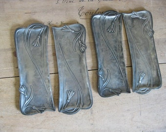 art nouveau cutlery rests, 4 French vintage pewter knife rests, Jugendstihl