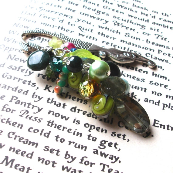 Mermaid Bookmark with Green Beads, Unique Bookmark, Cluster Bookmark, Teacher Gift, Summer Finds, Payday Treat, 16th Birthday Gift, Mum Gift