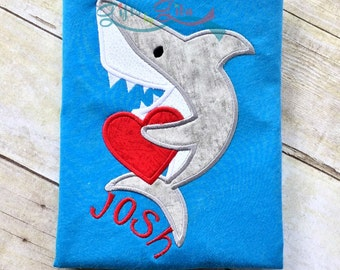 Embroidered Valentines day shirt, Shark heart shirt, boy's Valentine's shirt, boy shark shirt