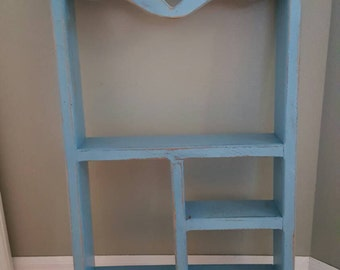 Chalkpainted Distressed Wooden Blue Shelf