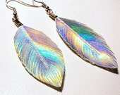 Feather earrings, Iridescent Earrings, Party Earrings, holographic jewelry, Jem, Boho Jewelry, 80s inspired jewelry