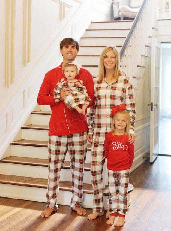 Organic christmas Family Christmas pajamas top and pants sets