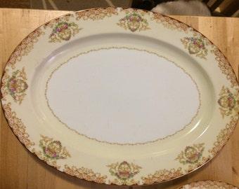 """Noritake Rosebud 6002 16"""" Oval Serving Platter"""