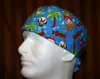 Men's Tie Back OR Scrub Hat with SWEAT Band/Mens Scrub hat/Scrub caps--Santa on Vacay
