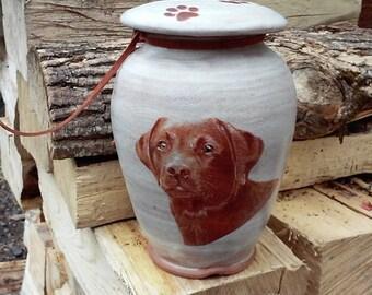 Dog Urn Chocolate Lab Art