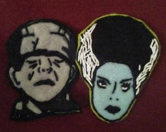 Frankenstein or his Bride felt brooch