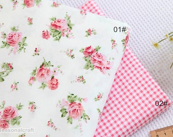 Cotton Fabric, Twill Cotton Fabric, Pink Rose Flower Plaid Cotton Fabric, Decor Fabric 1/2 Yard (QT878)