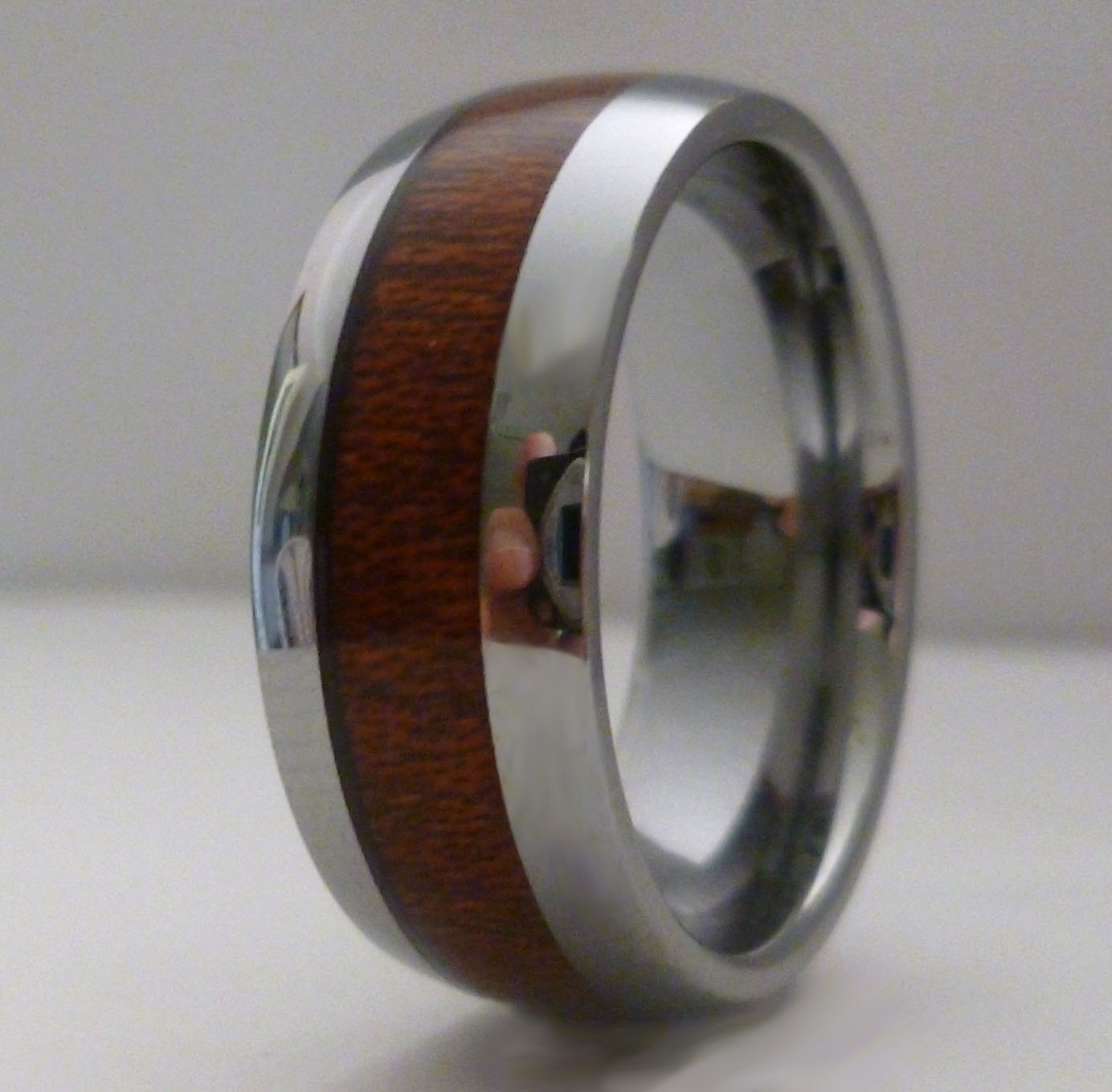 Male Wedding Bands Wood Inlay: Tungsten Ring Wood Inlay Wedding Band Mens Wood By GTJewellers