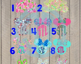 Lilly Pulitzer inspired Mouse, Girl Mouse, Princess, Castle, Carriage printed decal or heat transfer (iron on)