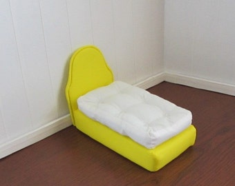 Doll Bed for 6 1/2 inch dolls Bright Yellow White Tufted Mattress