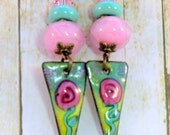 Boho triangle pink and mint green long dangle earrings, enameled copper rose flowers, woodland hippie earrings hand made garden jewelry,