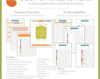 Clever Fox Homeschool Planner - Academic Quotes FULL Edition 2017-2018