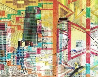 """Los Angeles, Extra Large Fine Art Canvas Print, Architectural Canvas Art Print, Cityscape Art, Contemporary Art up to 60""""  by Irena Orlov"""