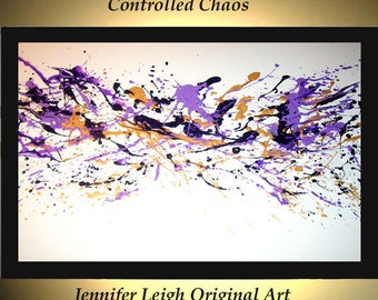 Original Large Abstract Painting Modern Acrylic Painting Oil Painting Canvas Art Purple Gold White Modern 36x24 Textured Wall Art  J.LEIGH