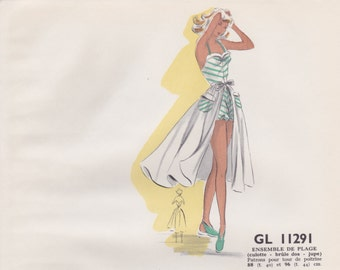 Original hand drawn and coloured illustration for French paper pattern model - 1950's Beach outfit  # GL11291 - fashion drawing