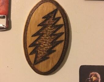 MAGNET Grateful Dead Lightning Bolt Wood Stained