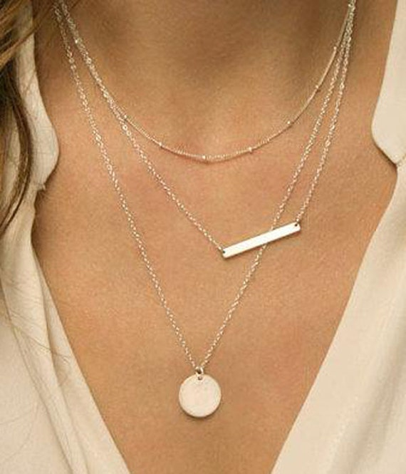 Nexus 20 Triple Bar Pendant: Silver Plated Metal Cable And Statelite Chain Round Circle