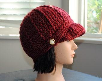 cherry red crochet adult newsboy hat