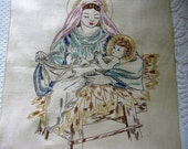 Virgin Mary and Infant Jesus Vintage 1950's Hand Embroidered Religious Sampler Quality 100% Linen A Beautiful Needlework Embroidery to Frame