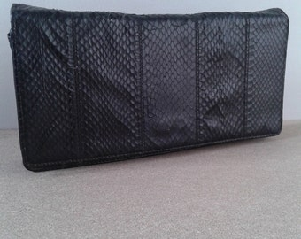 Vintage black snake skin handbag,STEPHANE PHILIPPE ,PARIS, leather clutch