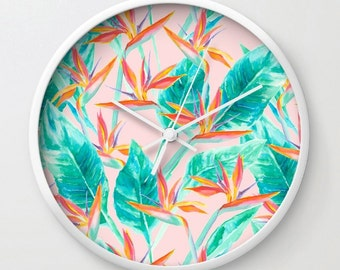 Tropical wall clock, modern home decor, watercolor palms clock, birds of paradise, tropical palm leaves, circular clock, botanicals on blush