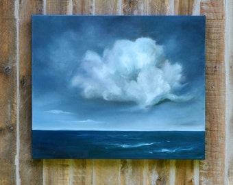 Oil on canvas, original  cloud painting, seascape painting,  home decor, storm clouds- Along came a cloud
