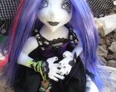 gothic ooak fairy, soft cloth art doll,  fae, faery, handmade, collectors, gift idea, eco freindly