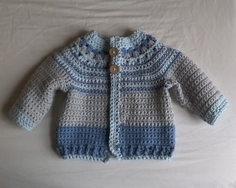 Crochet Cotton Cardigan for a Baby Boy
