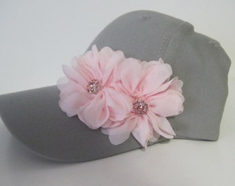 Youth Toddler Grey Baseball Cap with Pink Flowers and Pink  Rhinestone  Accent 3 to 10 yr old