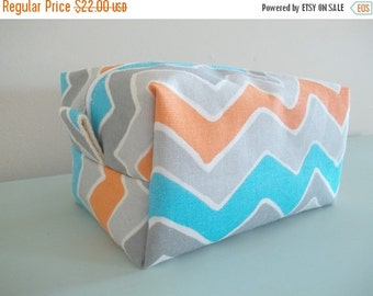 BACK 2 SCHOOL SALE Chevron Makeup Bag  - Cosmetic Pouch -  Lunch Bag - Wet Bag -Waterproof Bag