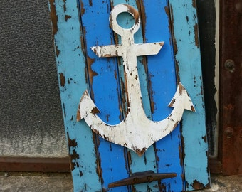 Weathered Anchor w/ rusted boat cleat, rustic coat rack