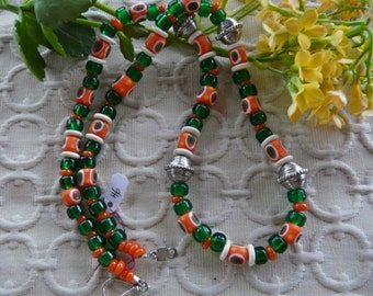 27 Inch Chunky Ethnic African Trade Bead and Indonesian Orange and Green Glass Bead Necklace with Earrings