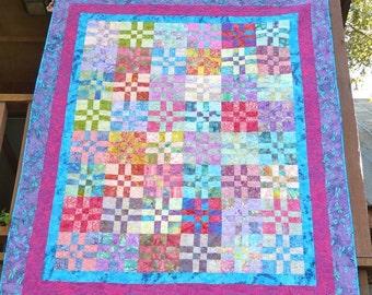 63 x 78 Large Lap Batik Hand Made Quilt