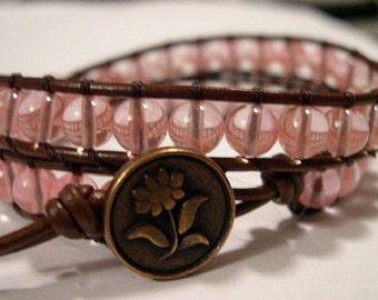 Bohemian Wrap Bracelet, Beaded Bracelet, Boho Wrap Bracelet, Cherry Quartz - 781