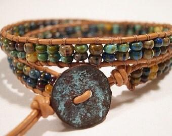 Leather Wrap Bracelet, Beaded wrap bracelet, Double Wrap Bracelet, Beaded leather wrap, Boho wrap bracelet - 803