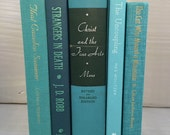 Teal Vintage Books, Book Collection, Book Bundle, Photography Props, Shades of Teal Books ,Instant library