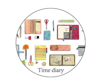 Diary Scrapbook Adhesive Masking Deco Washi Tape - Time Diary (3 cm Width)