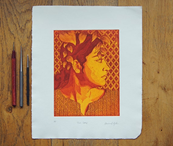 Etching profile portrait print , printed in a rich red and yellow with leaves and patterns
