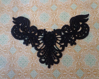 "Black Venice Lace Yoke, Jewelry, Bridal, Costume Design, 6.5"" X 2.75"""