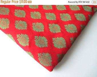 ON SALE Red Green flower on red silk Christmas indian silk brocade fabric nr 86 fat quarter \ 1/4 YARD