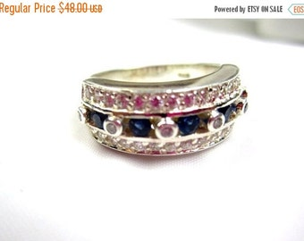 Blue Rhinestone Ring 1950s Sterling Silver Vintage Jewelry, Gift for Her VALENTINE SALE