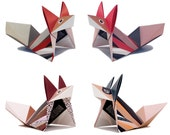 DIY KIT FOX, red/coral/marsala/blue, 3 of each colour variation, 12 foldingdrafts & foldinginstruction (paper, video)