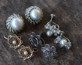 Vintage Earring Lot Four Pairs Clip On Screw Back Imperfect KJL Sterling Silver Faux Pearl Rhinestone Fix Repair // Vintage Costume Jewelry