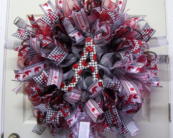 Alalbama Mesh Wreath,Bama Mesh Wreath,Bama Man Cave Wreath,Roll Tide Wreath,Alabama Wreath,Bama Wreath