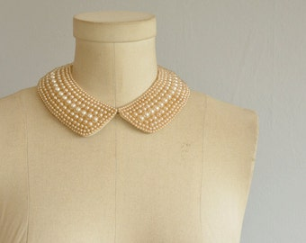 Vintage 50s Pearl Beaded Collar / 1950s Cream Satin and Pearl Peter Pan Collar / Made in Japan