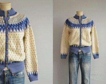 Vintage 50s Norwegian Fair Isle Cardigan / 1950s Hand Knit Nordic Wool Sweater / Paul Mage Made in Denmark